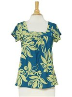 Hilo Hattie Lawai Teal Rayon Hawaiian Swirl Bias Square Neck Blouse