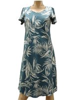 Paradise Found Tropical Paradise Blue Rayon Hawaiian A-Line with sleeves Short Dress