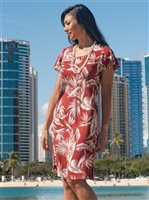 Paradise Found Tropical Paradise Red Rayon Hawaiian A-Line with sleeves Short Dress