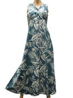 Paradise Found Tropical Paradise Blue Rayon Hawaiian Long Dress