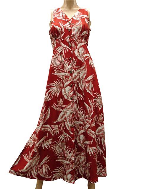 9a1c19705b26 Paradise Found Tropical Paradise Red Rayon Hawaiian Long Dress ...