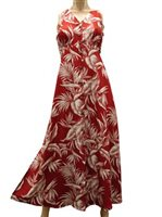 Paradise Found Tropical Paradise Red Rayon Hawaiian Long Dress