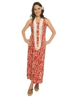 Iolani Manao Red Sleeveless Tank Long Dress
