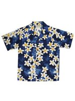 Royal Hawaiian Creations Plumeria Blue Cotton Boys Hawaiian Shirt