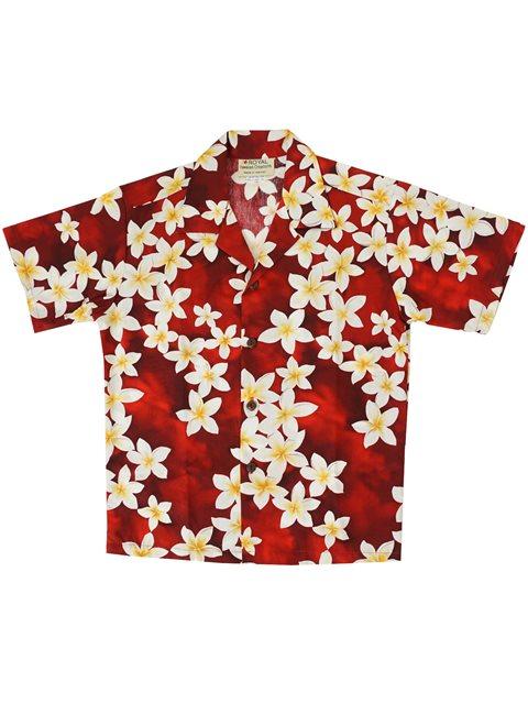 a8d7b862 Royal Hawaiian Creations Plumeria Red Cotton Boys Hawaiian Shirt ...