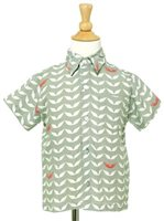 Angels by the Sea Angel's Wing Gray Rayon Boys Hawaiian Shirt