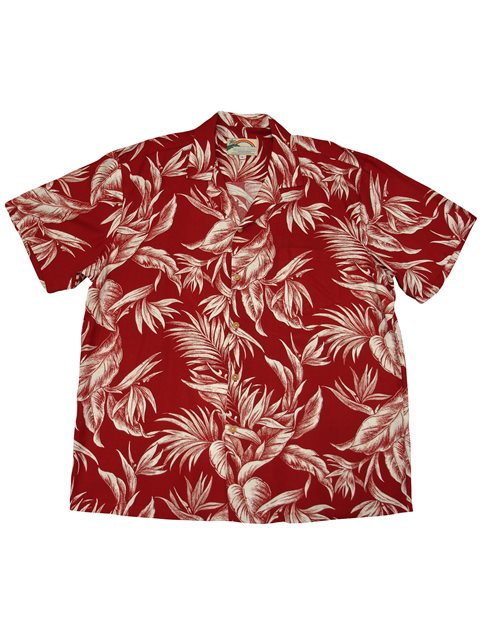 b6344aede39 Paradise Found Tropical Paradise Red Rayon Men s Hawaiian Shirt ...