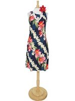 Two Palms Orchid & Plumeria Navy Rayon Hawaiian Midi Tank Dress