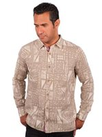 Te Aito Tu 3 Khaki Cotton Men's Hawaiian Shirt