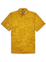 Reyn Spooner Monstera Ink Mustard Men's Hawaiian Shirt Classic Fit