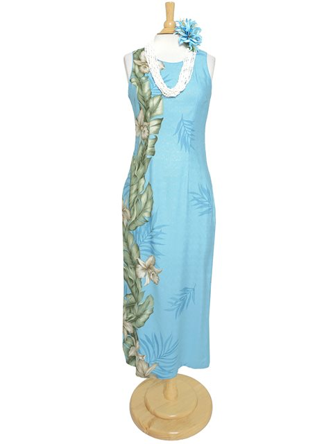 Orchid Panel Light Blue Rayon Piping Neck Long Dress