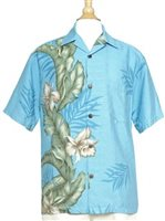 Hilo Hattie Orchid Panel Light Blue Rayon Men's Aloha Shirt