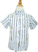 Angels by the Sea Pineapple   White Rayon Boys Hawaiian Shirt