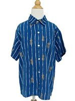 Angels by the Sea Pineapple  Navy Rayon Boys Hawaiian Shirt