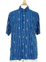 Angels by the Sea Pineapple Navy Rayon Men's Hawaiian Shirt