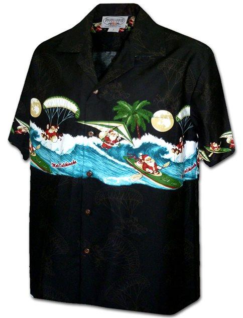 d5404f8a9 Pacific Legend Active Santa Black Cotton Men's Hawaiian Shirt ...