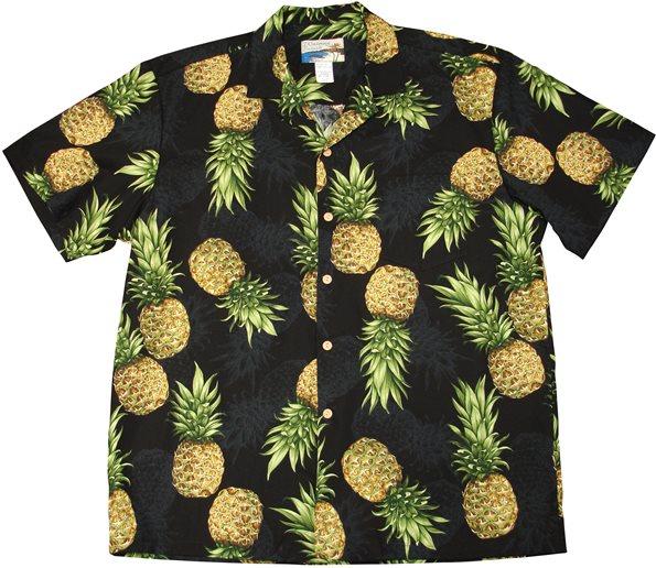 62e70950 Waimea Casuals Maui Pineapple Black Cotton Men's Hawaiian Shirt ...