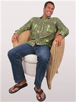 Te Aito Tu 3 Charcoal Cotton Men's Hawaiian Shirt