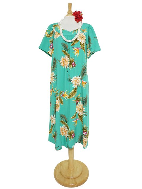 [Exclusive] Ceres Green Rayon Midi Muumuu Dress