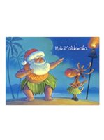 Island Heritage Santa Dances Hula Boxed Christmas Card 12 cards & 13 envelopes