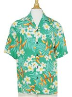 Two Palms Bird of Plumeria Green Rayon Men's Hawaiian Shirt