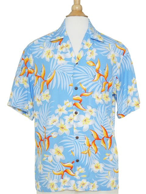 8745241a66 Two Palms Bird of Plumeria Blue Rayon Men's Hawaiian Shirt | AlohaOutlet