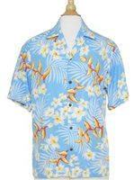 Two Palms Bird of Plumeria Blue Rayon Men's Hawaiian Shirt