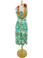 Two Palms Bird of Plumeria Green Rayon Hawaiian Summer Midi Dress