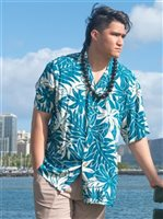 Paradise Found Tahitian Gardenia Teal Rayon Men's Hawaiian Shirt
