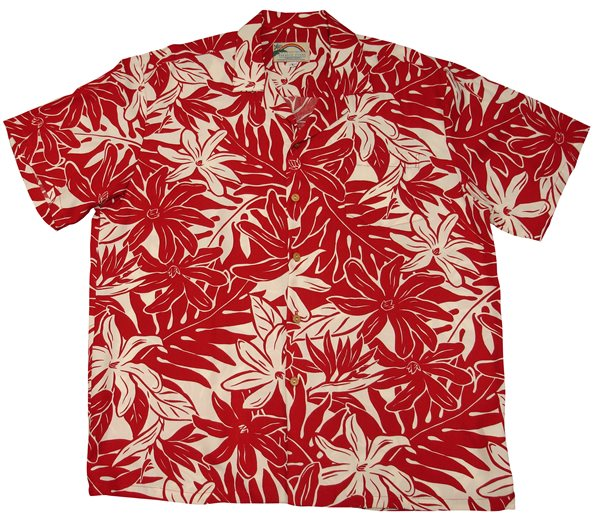 f89fb630 Paradise Found Tahitian Gardenia Red Rayon Men's Hawaiian Shirt ...