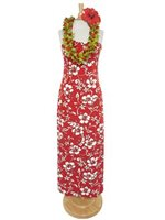 Hilo Hattie Classic Hibiscus Pareo Red Cotton Long Adjustable Strap Dress