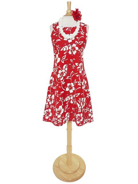 922c7b2321e Hilo Hattie Classic Hibiscus Pareo Red Cotton Short Sleeveless Bias ...
