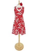 Hilo Hattie Classic Hibiscus Pareo Red Cotton Short Sleeveless Bias Dress