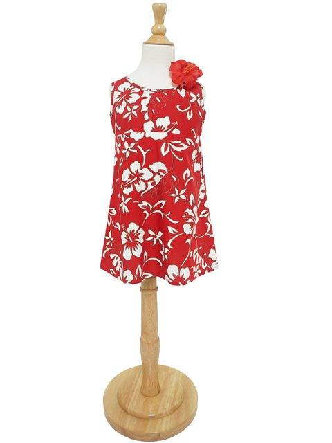 56f2a2bad5 Hilo Hattie Classic Hibiscus Pareo Red Cotton Girls Key Hole Dress ...
