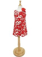 Hilo Hattie Classic Hibiscus Pareo Red Cotton Girls Key Hole Dress