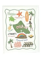 Celeste Welch Designs Island of Oahu Folded Greeting Card 1Piece