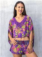 Taravana Hana Purple Flowy Crop Top [60% OFF]