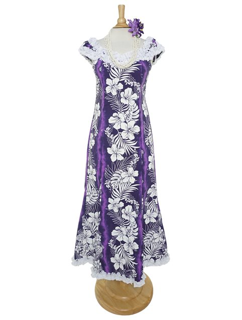 f20cc7b01de Hibiscus Fern Panel Purple Poly Cotton Hawaiian Nahenahe Ruffle Long Muumuu  Dress