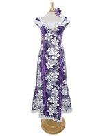 d561ec84b31 Royal Hawaiian Creations Hibiscus Fern Panel Purple Poly Cotton Hawaiian  Nahenahe Ruffle Long Muumuu Dress