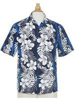 Royal Hawaiian Creations Hibiscus Fern Panel Blue Poly Cotton Men's Hawaiian Shirt