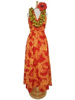Princess Kaiulani Tube Rose Red&Orange Poly Cotton Hawaiian High Waist Long Dress