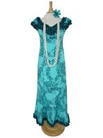 Princess Kaiulani Tube Rose Aqua&Teal Poly Cotton Hawaiian Frill Sleeve Long Dress