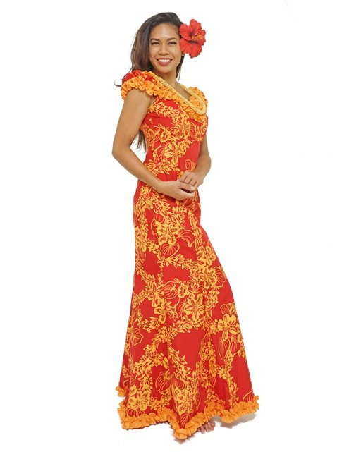 6aea4601af16 Princess Kaiulani Tube Rose Red&Orange Poly Cotton Hawaiian Frill ...