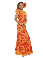 Princess Kaiulani Tube Rose Red&Orange Poly Cotton Hawaiian Frill Sleeve Long Dress