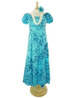 Princess Kaiulani Kukui Aqua&Teal Poly Cotton Hawaiian Puff Sleeve Long Dress