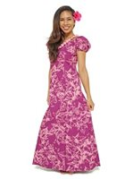 Princess Kaiulani Kukui Burgundy&Pink Poly Cotton Hawaiian Puff Sleeve Long Dress