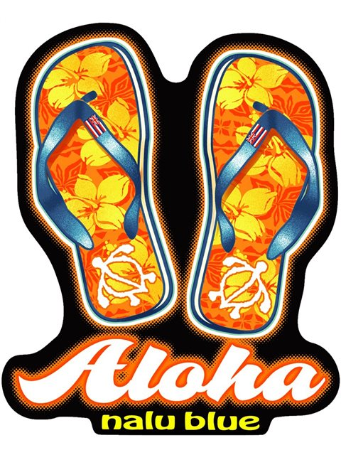 Slippers Hawaiian Island Decals Alohaoutlet