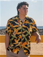 Paradise Found Watercolor Bird of Paradise Black Rayon Men's Hawaiian Shirt