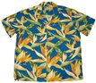 Paradise Found Watercolor Bird of Paradise Blue Rayon Men's Hawaiian Shirt
