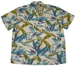 Paradise Found Watercolor Bird of Paradise Cream Rayon Men's Hawaiian Shirt